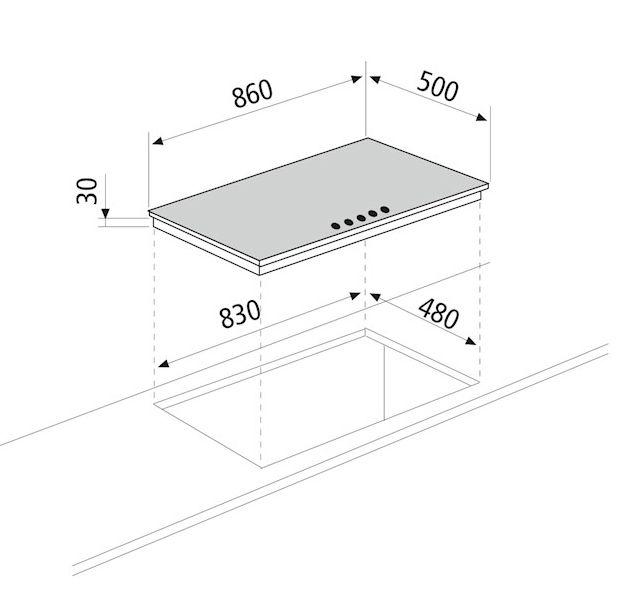 Cooktop Matrix Glem Semiprofissional a Gás 5 Bocas com Tripla-Chama Lateral Inox 86cm 220V