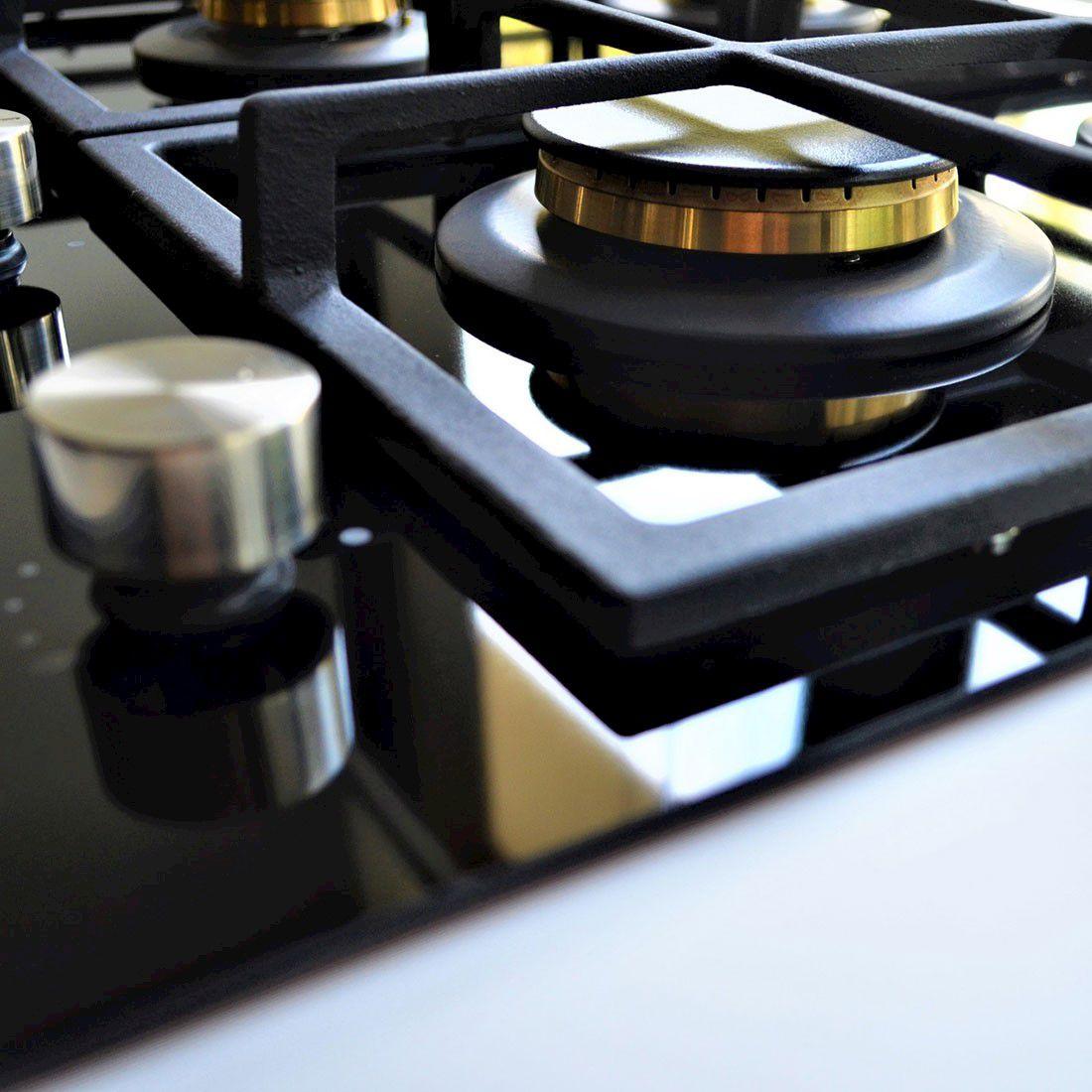 Cooktop Nero Argento Elanto Semiprofissional a Gás 5 Bocas Vitrocerâmico 87cm 220V