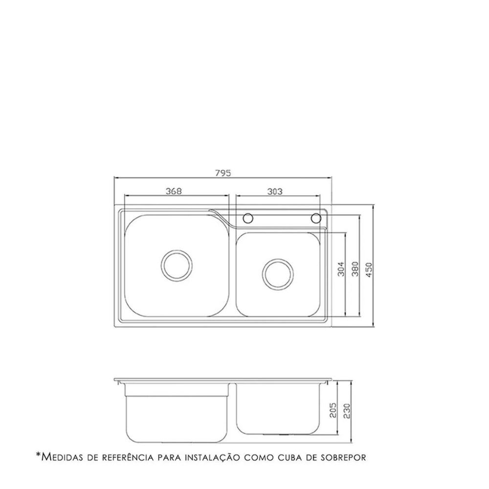 Cuba Cozinha DeBacco Funzionale 228 Inox 80x45 Com Furo  - Sua Casa Gourmet e Cia