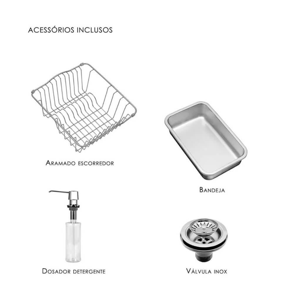 Cuba Debacco Funzionale 228 Inox 80x45 Sem Furo  - Sua Casa Gourmet e Cia