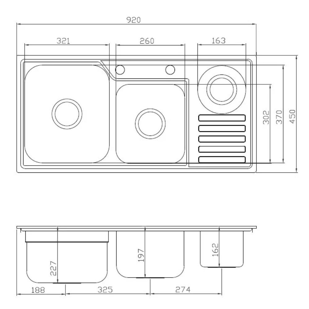Cuba Debacco Funzionale 229 Inox 92x45cm Com Furo  - Sua Casa Gourmet e Cia