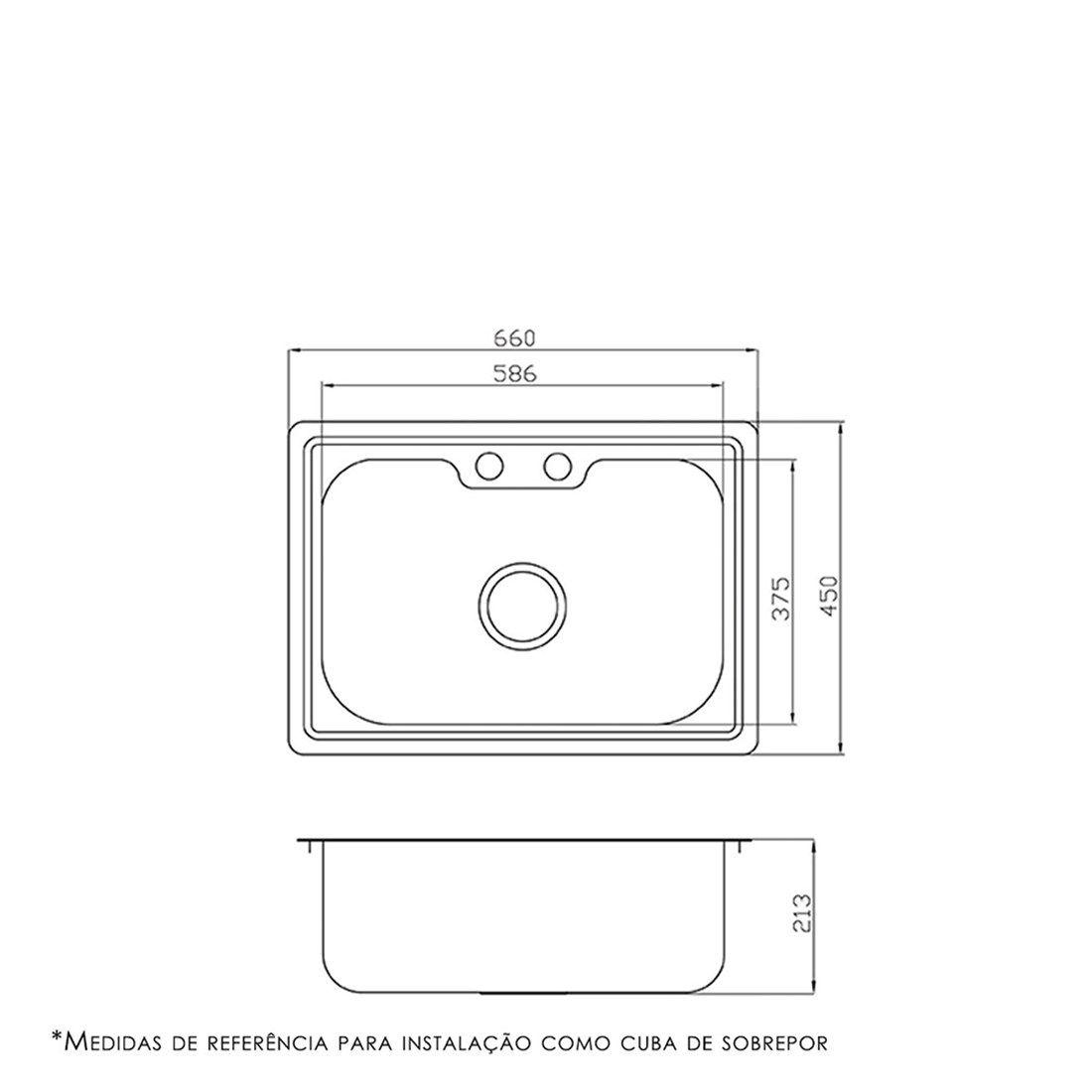 Cuba para Cozinha DeBacco Funzionale Inox 66x45