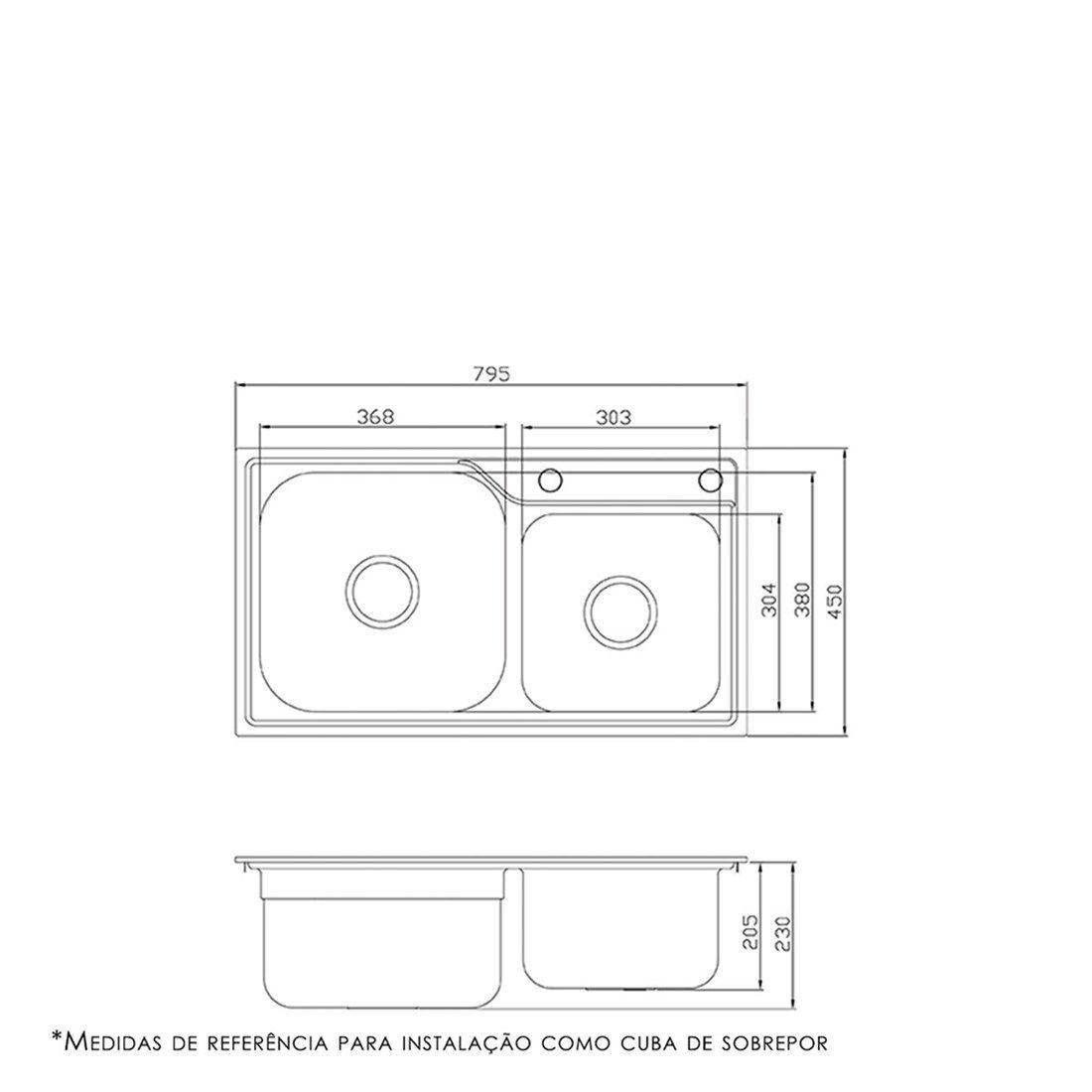 Cuba para Cozinha DeBacco Funzionale Inox 80x45