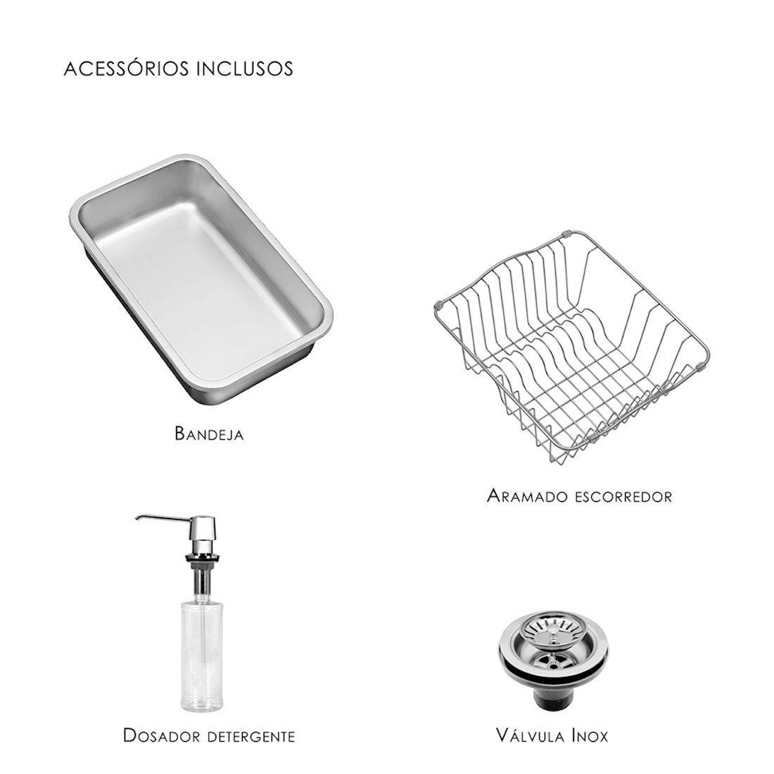 Cuba para Cozinha DeBacco Funzionale Inox 92x45