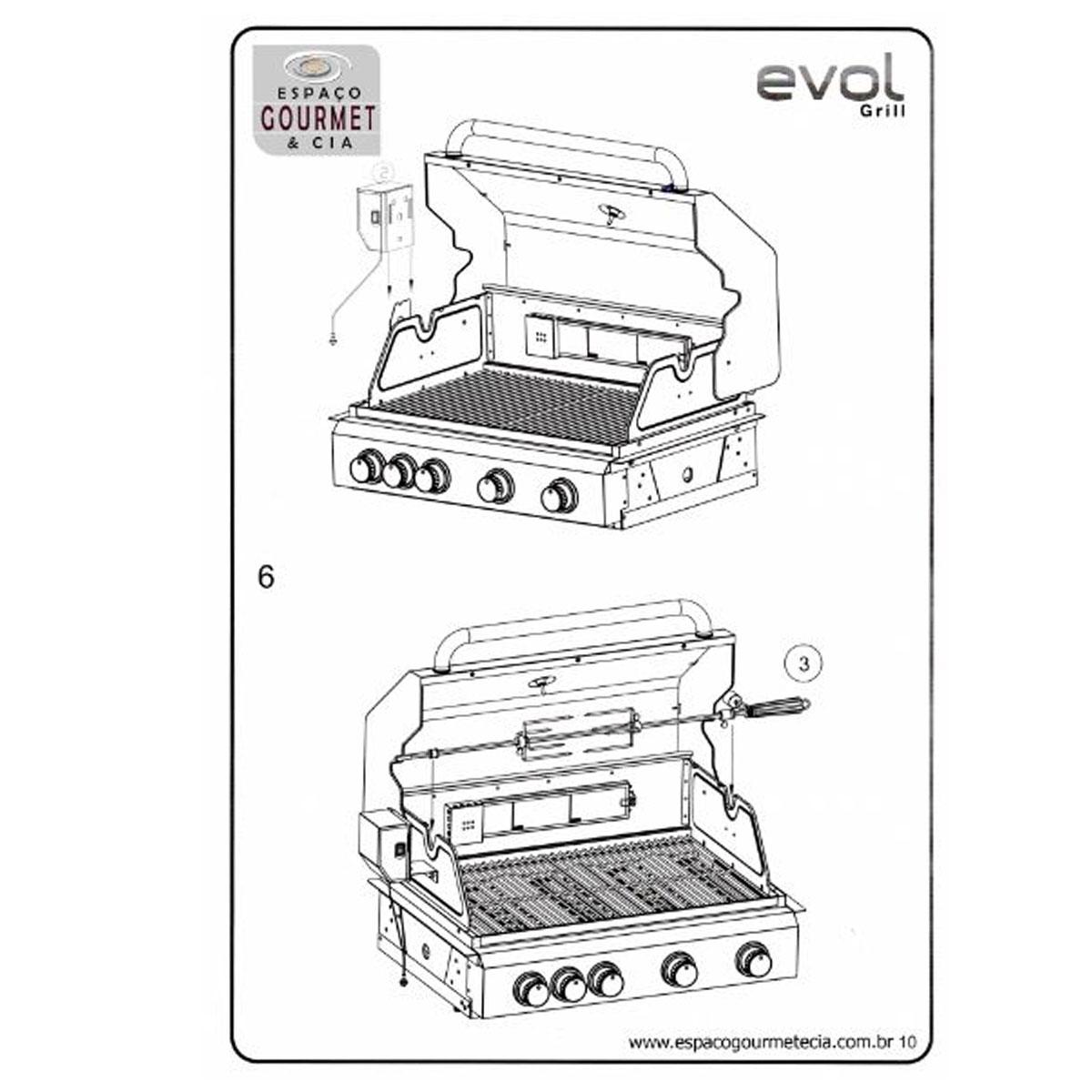 Churrasqueira a Gás Com Espeto Evol Florence - 4 Queimadores