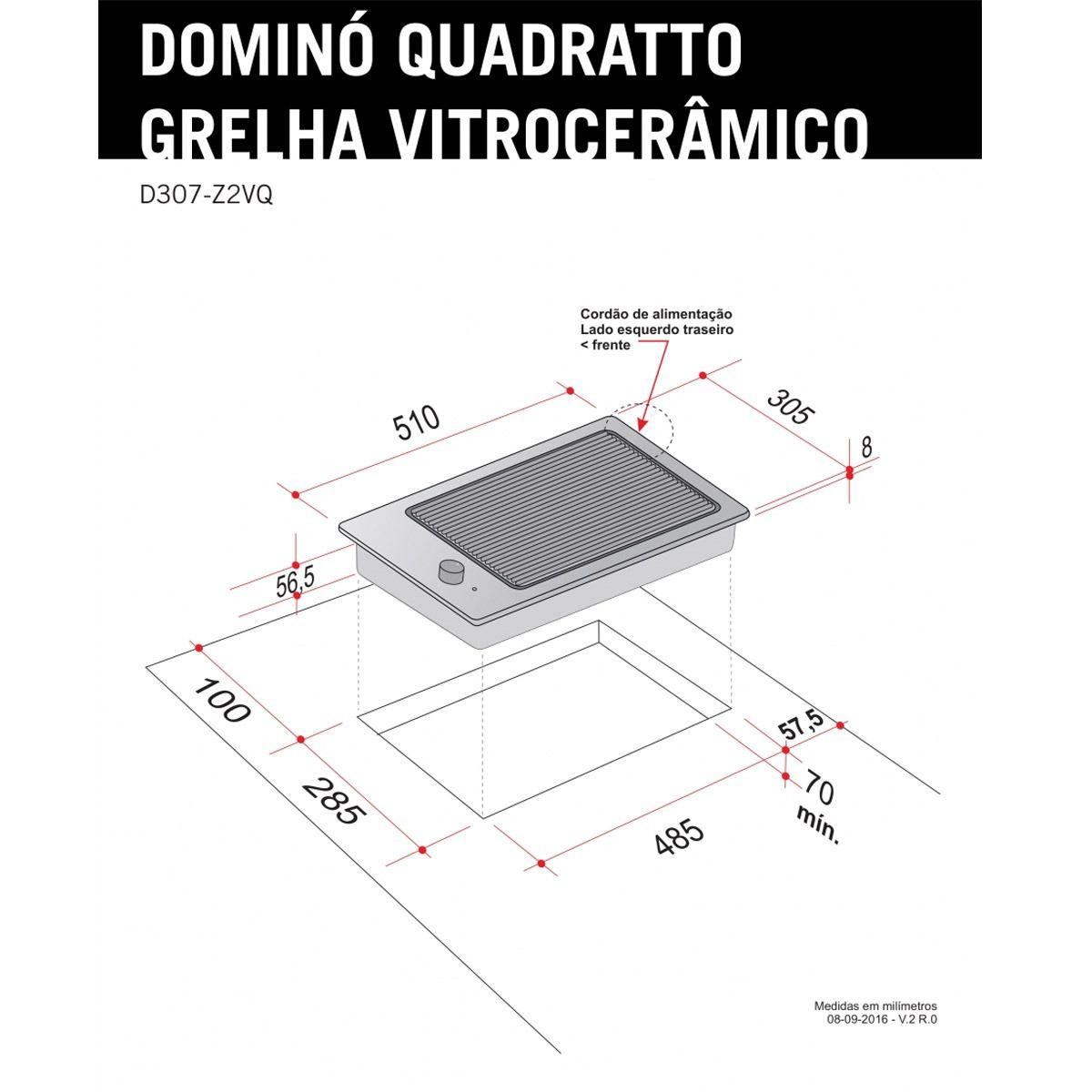 Dominó Elettromec Quadratto Grelha Vitrocerâmico 220V