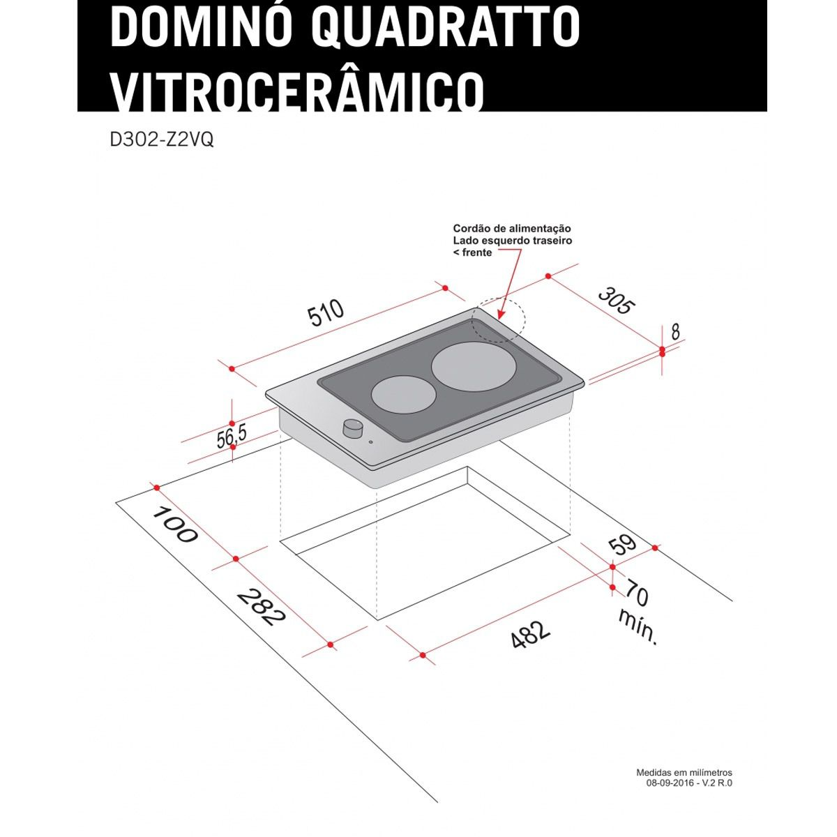 Dominó Elettromec Quadratto Vitrocerâmico 2 Bocas 220V