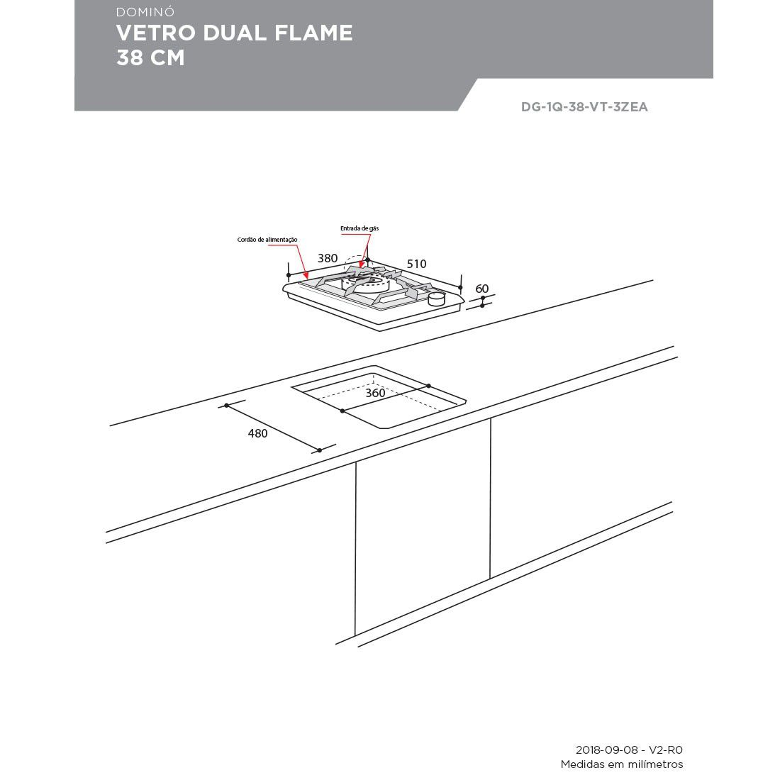 Dominó Elettromec  Vetro Dual Flame 1 Boca Inox 38cm Bivolt