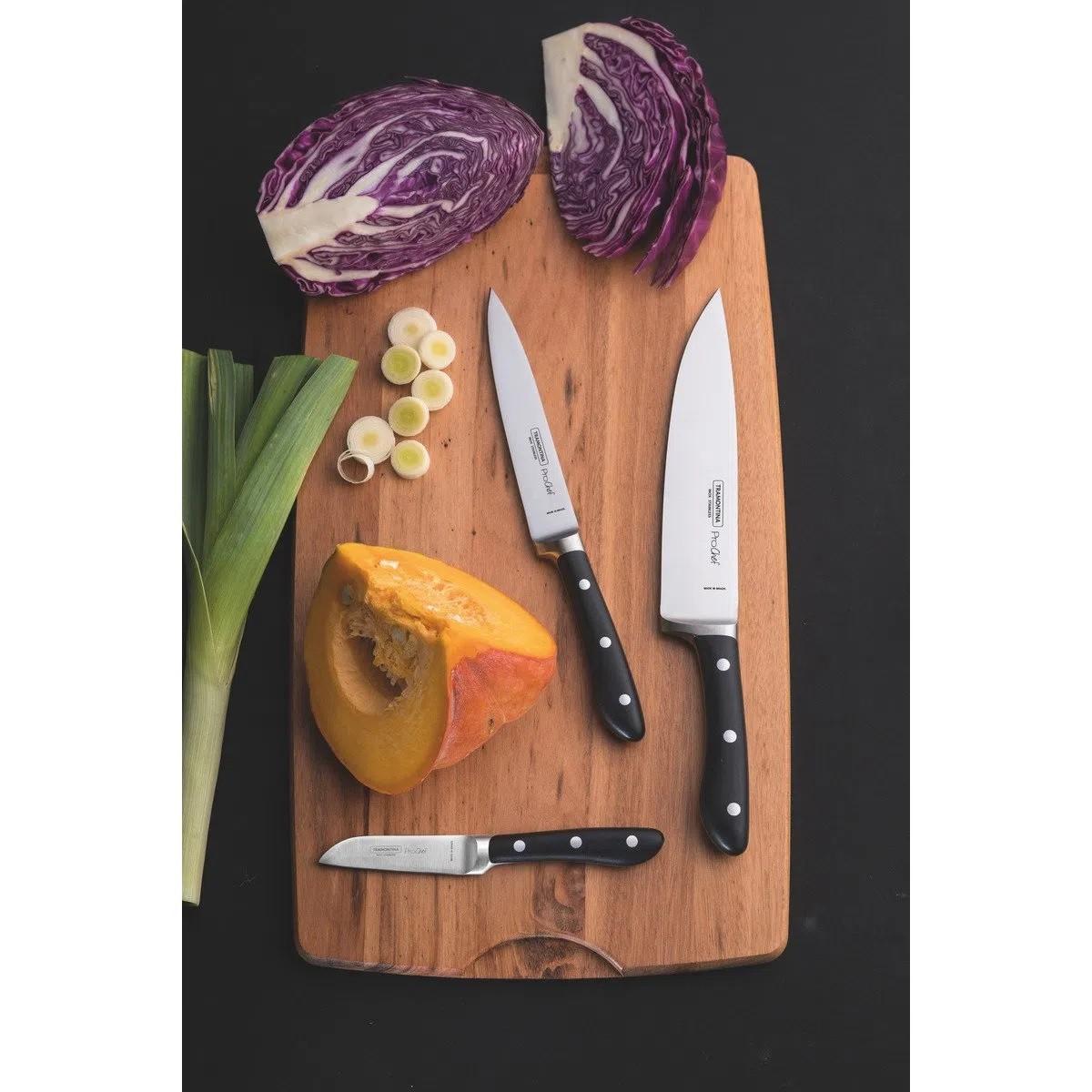 """Faca Chef Inox 8"""" Prochef Cabo Policarbonato  - Sua Casa Gourmet e Cia"""