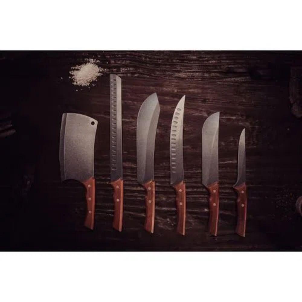 """Faca para Carne Churrasco Black com Lâmina em Aço Inox Escurecido e Cabo de Madeira 8"""" Tramontina  - Sua Casa Gourmet e Cia"""