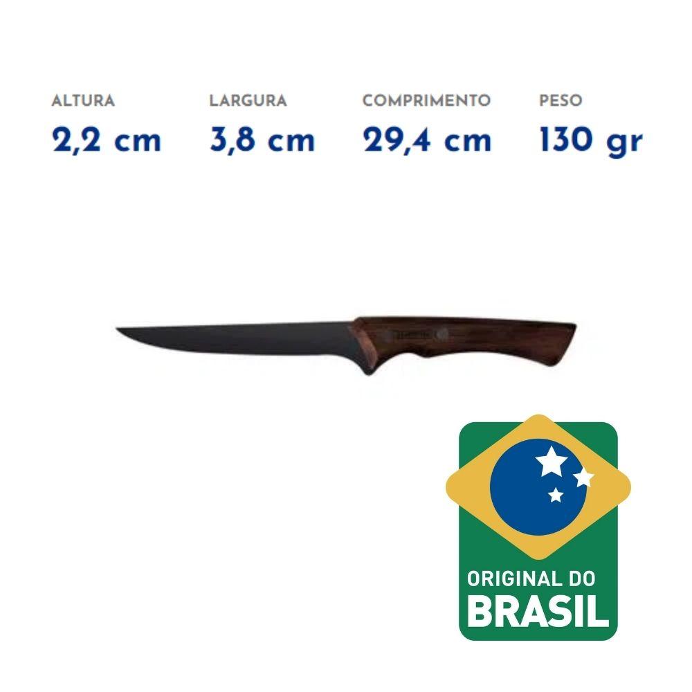 """Faca para Desossar Churrasco Black com Lâmina em Aço Inox Escurecido e Cabo de Madeira 6"""" Tramontina  - Sua Casa Gourmet e Cia"""