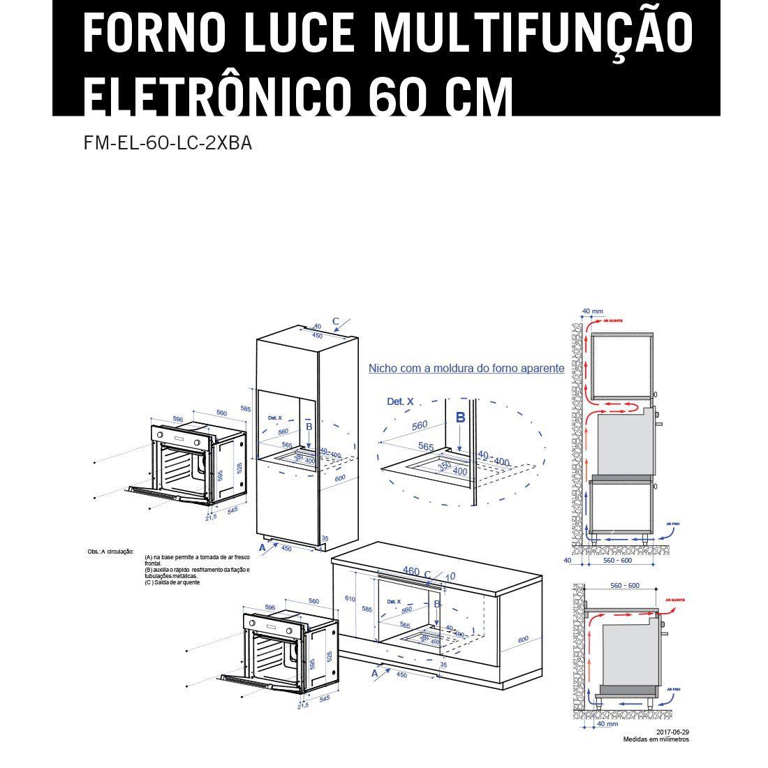 Forno Elettromec Elétrico Luce Multifunções Inox e Vidro 60cm 220V