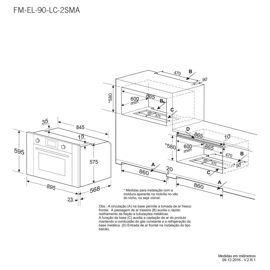 Forno Elettromec Elétrico Multifunções Luce Inox 90cm 220V