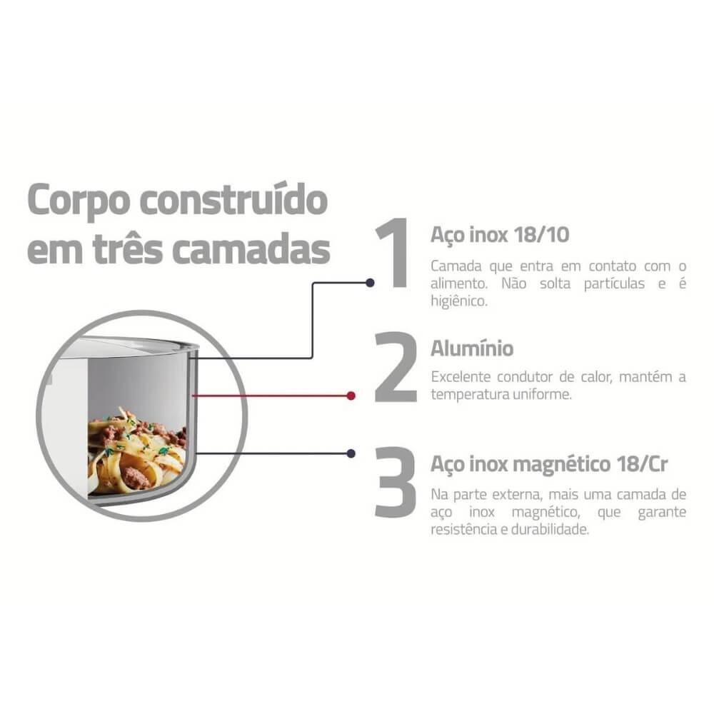 Frigideira Tramontina Grano Aço Inox 30cm  - Sua Casa Gourmet e Cia