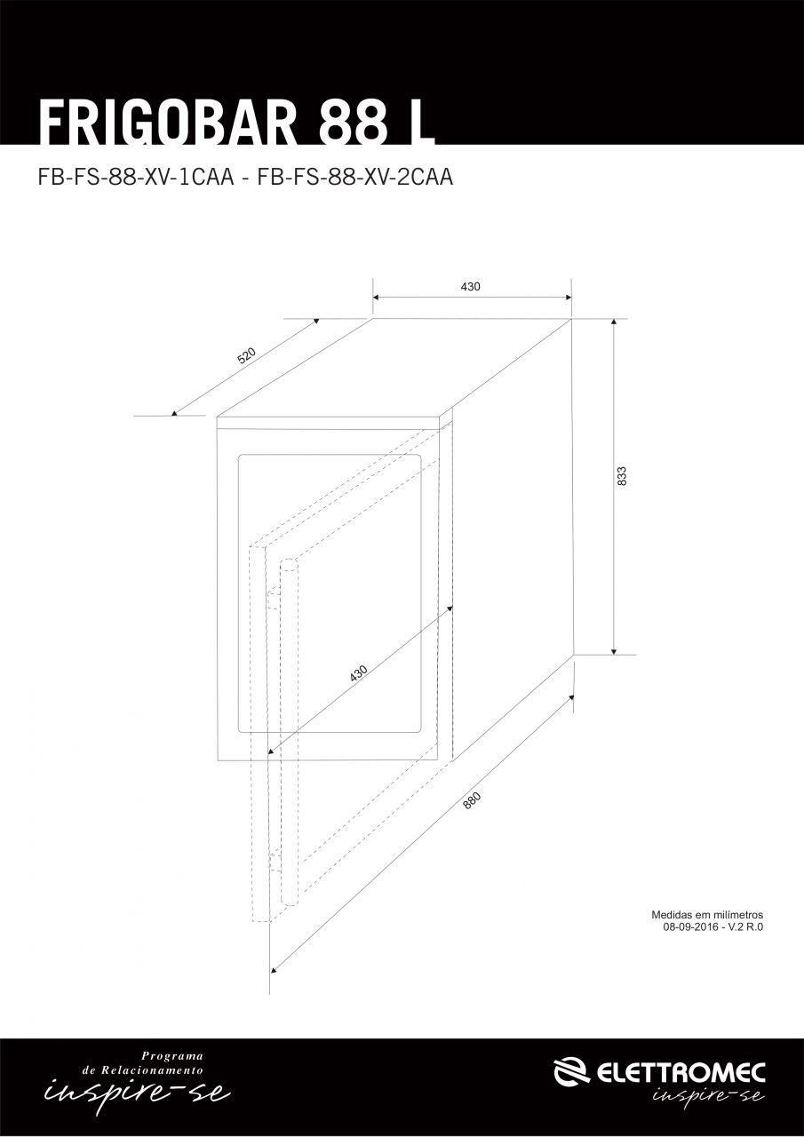 Frigobar Elettromec Inox 88 Litros