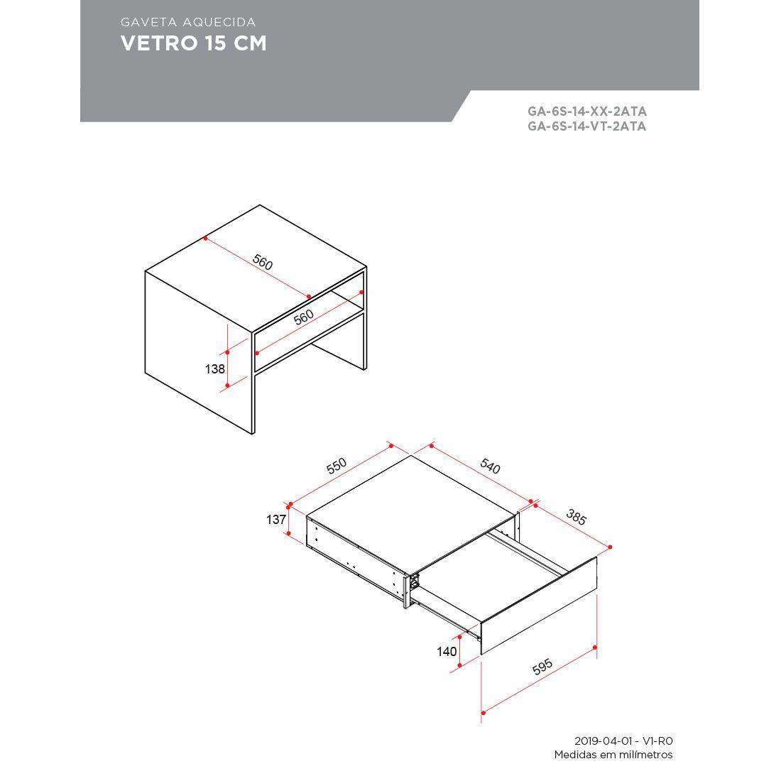 Gaveta Aquecida Elettromec Vetro Vidro Preto 15cm 220V