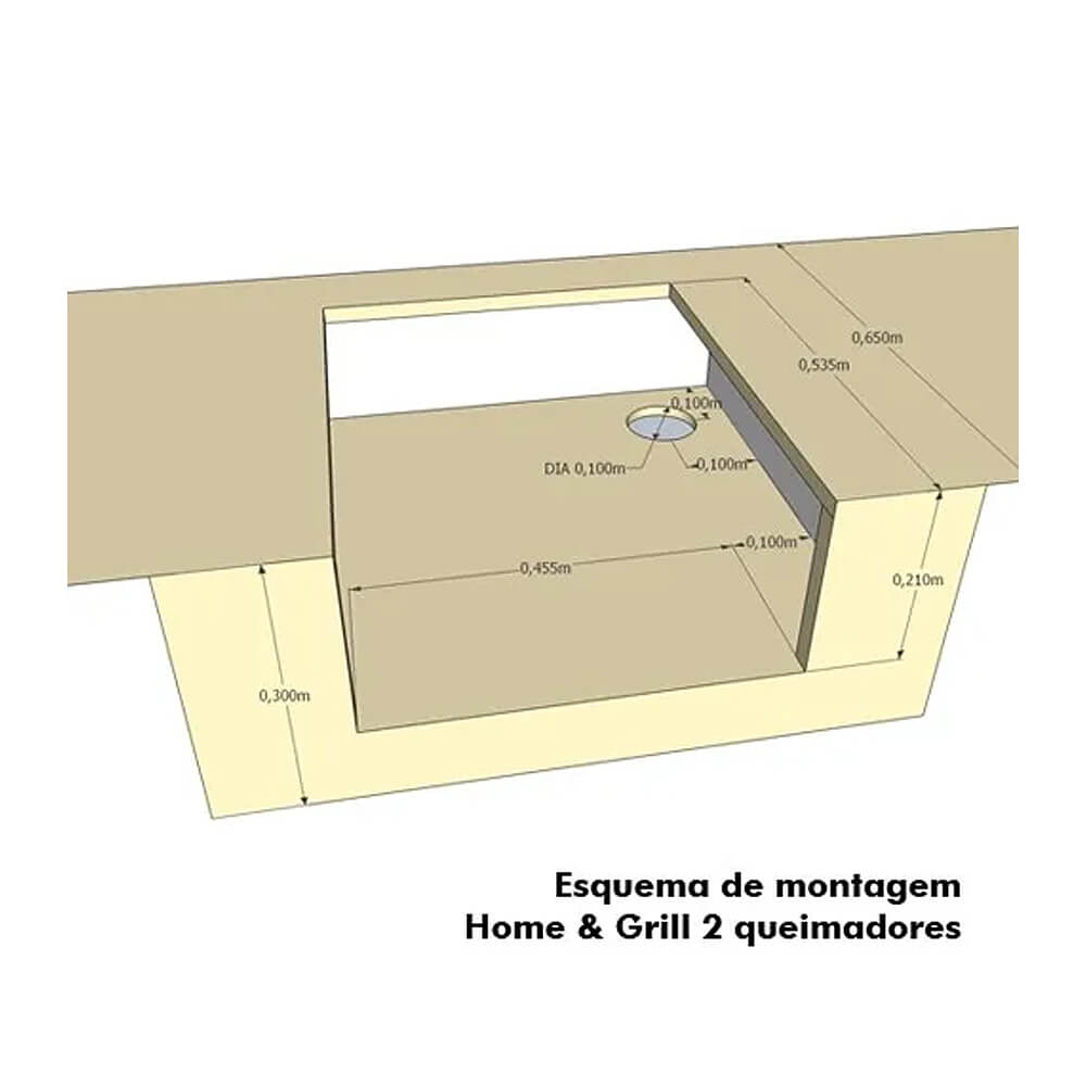 Grelhador Embutir Compact HG-2B Inox 2 bocas Home&Grill  - Sua Casa Gourmet e Cia