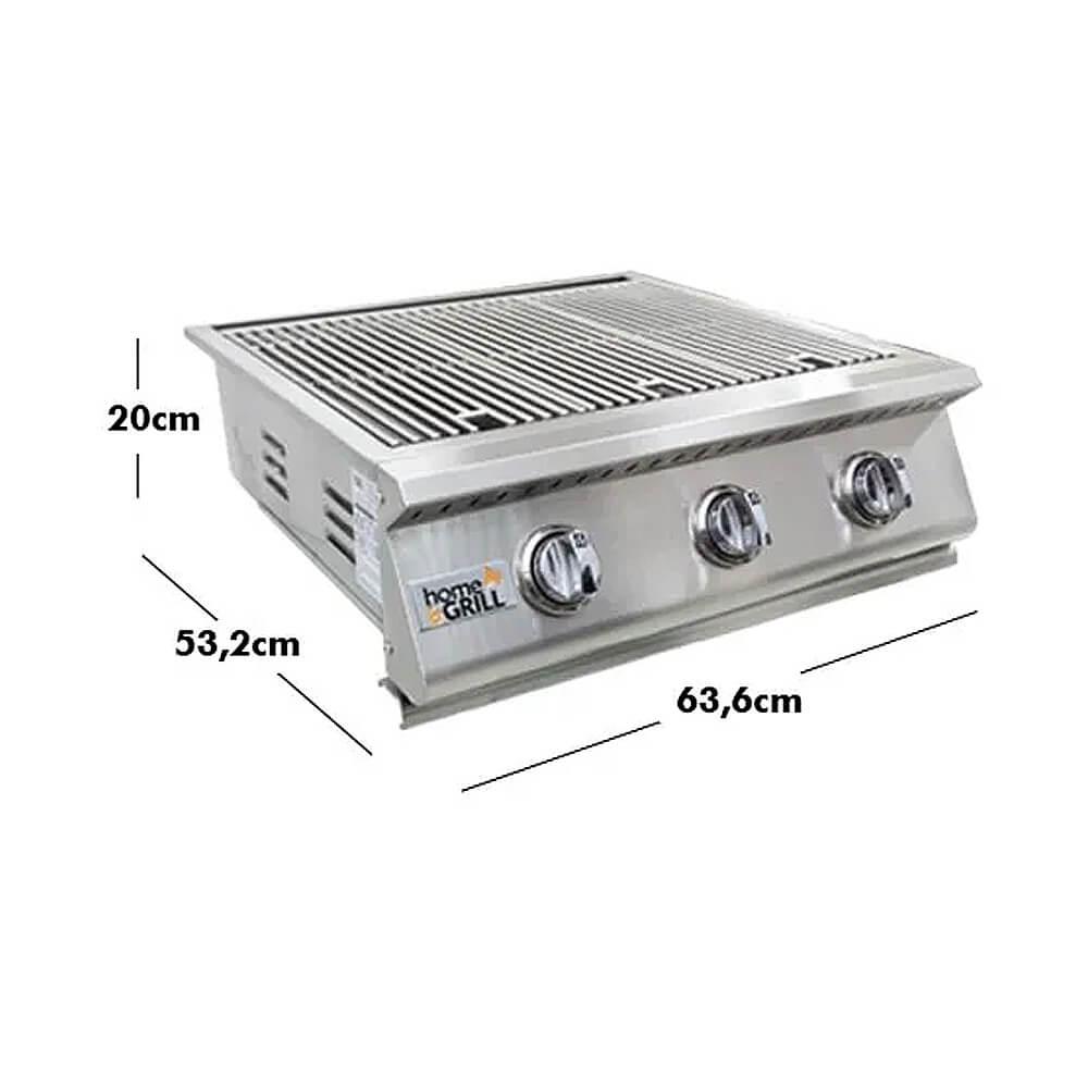 Grelhador Embutir Style HG-3B Inox 304 3 bocas Home&Grill  - Sua Casa Gourmet e Cia