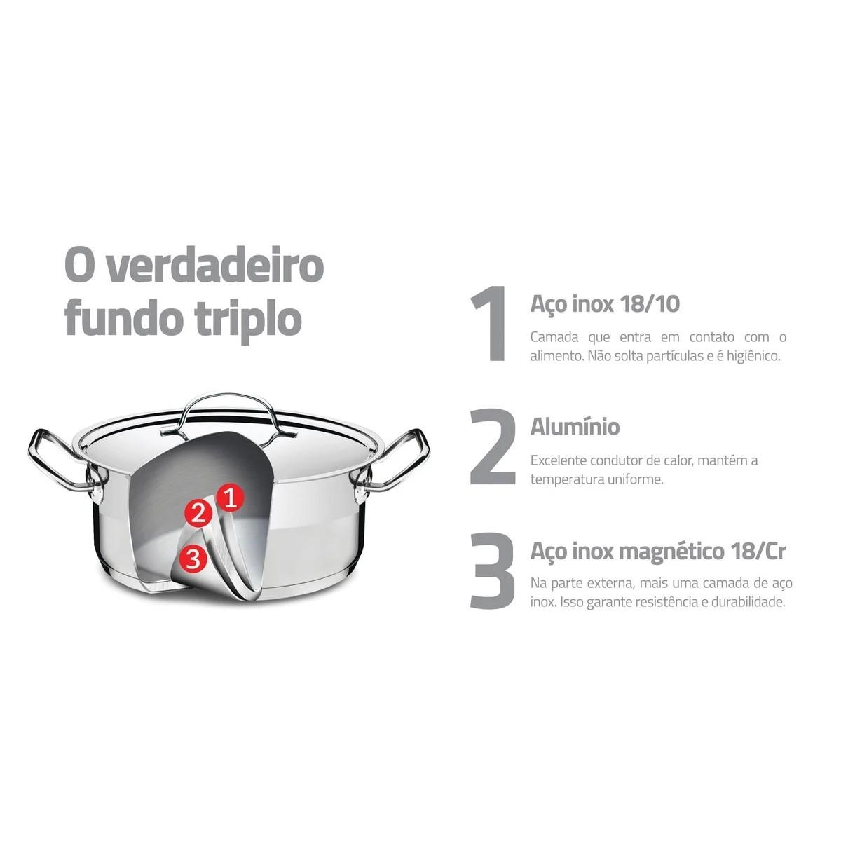 Jogo Caçarola Funda Inox e Cozi-Vapore Professional 16cm 1,6l  - Sua Casa Gourmet e Cia