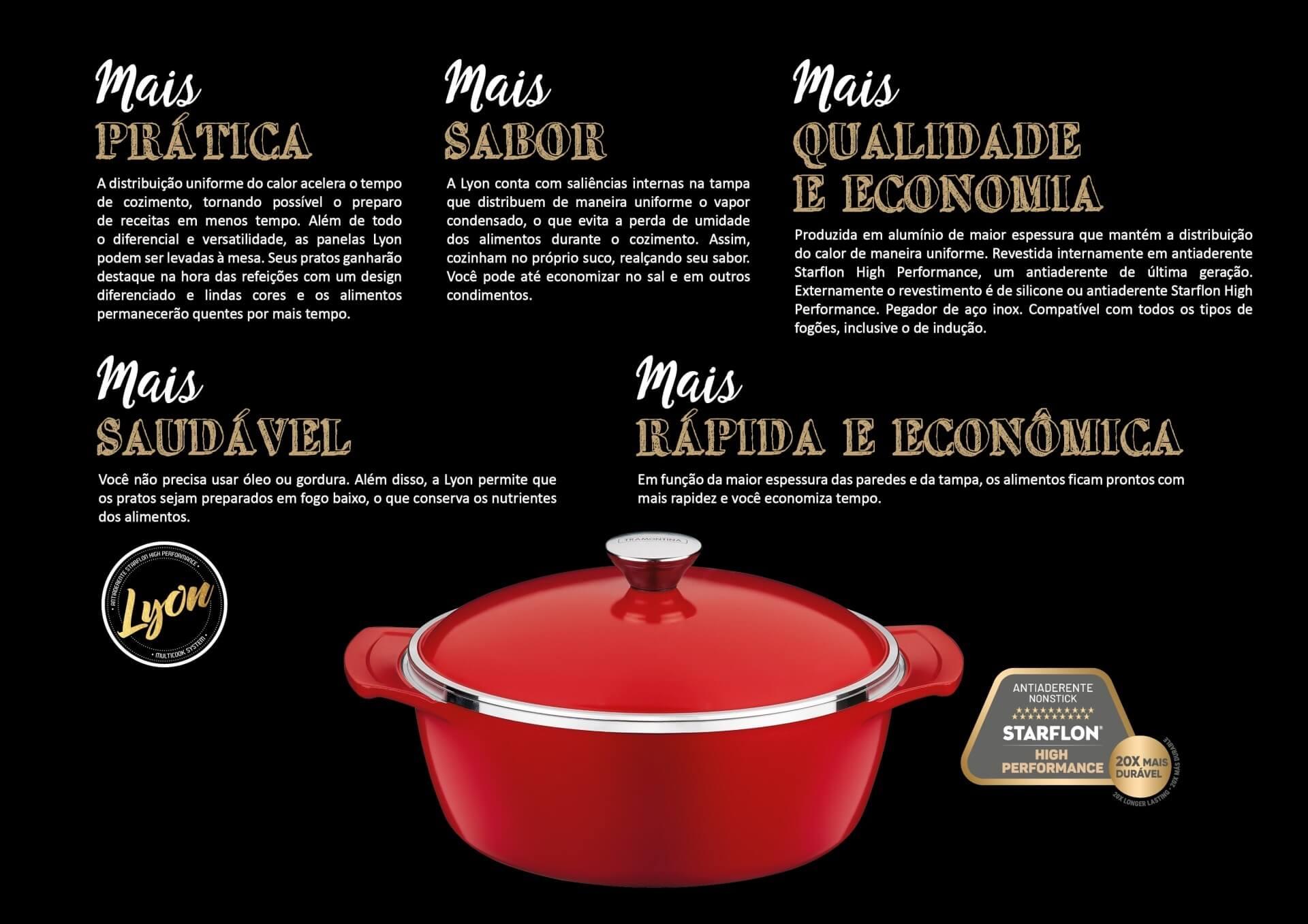 Jogo Caçarolas Tramontina Alumínio Lyon Vermelha 24cm e 30cm  - Sua Casa Gourmet e Cia