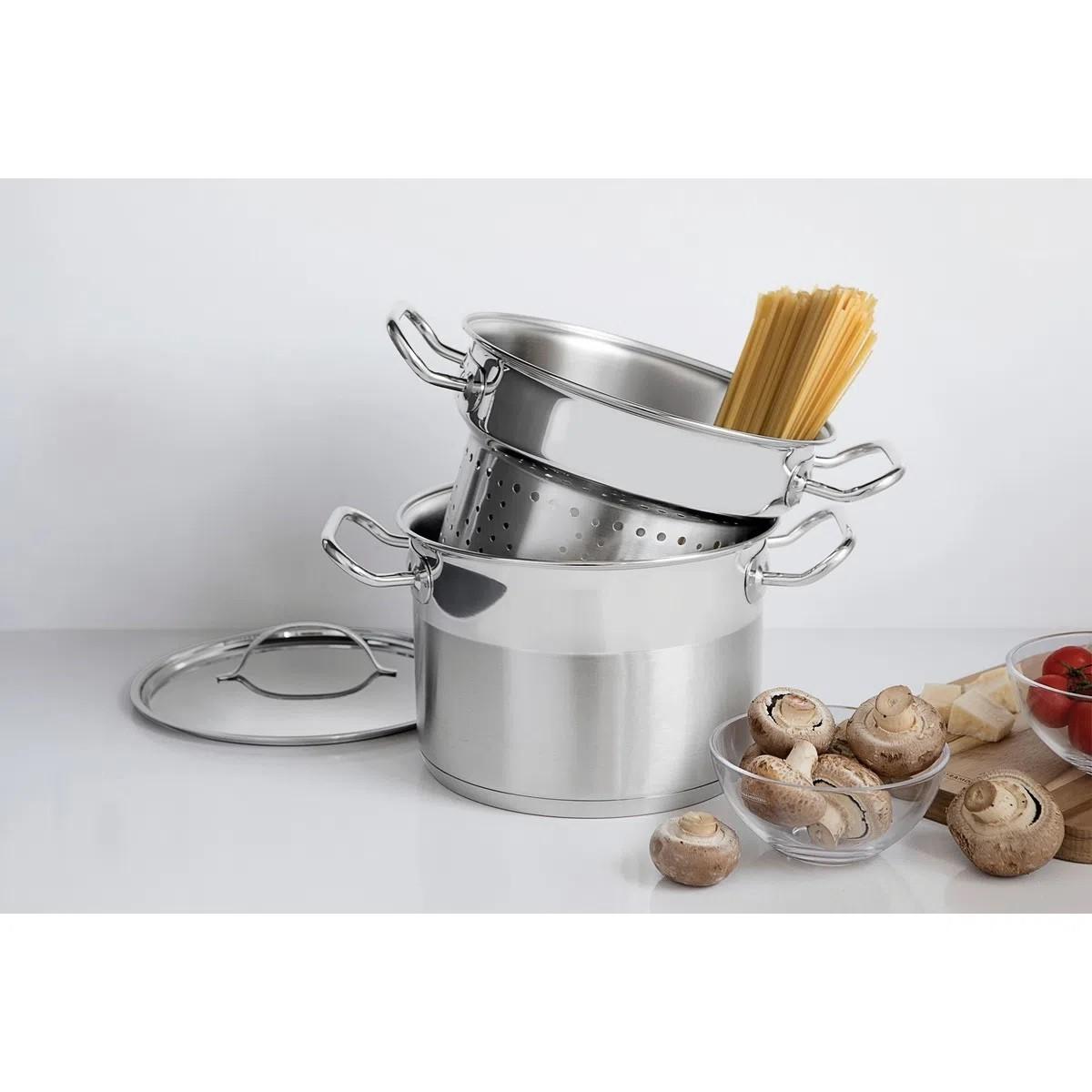 Jogo Cozi-Pasta Tramontina Inox Professional 24cm Com Tampa 2pcs  - Sua Casa Gourmet e Cia