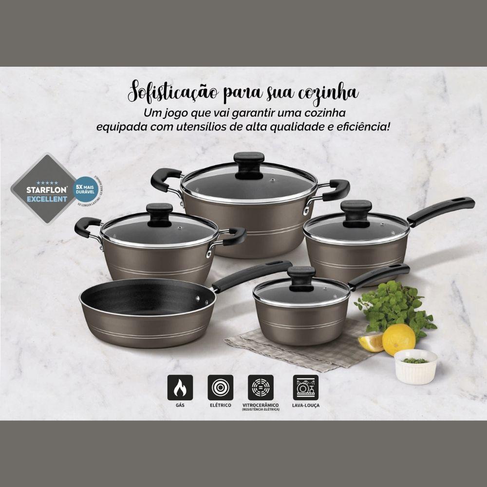 Jogo de Panelas Tramontina Sicília Alumínio Revestimento Antiaderente Avelã 5 Peças  - Sua Casa Gourmet e Cia
