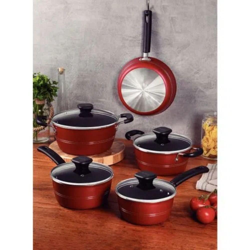 Jogo de Panelas Sicília Alumínio Revestimento Antiaderente Vermelho 5 Peças Tramontina  - Sua Casa Gourmet e Cia