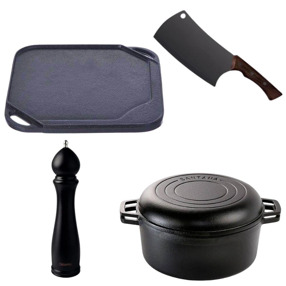 Conjunto Gourmet com panela de Ferro Fundido Bifeteira Pimenteiro e Cutelo