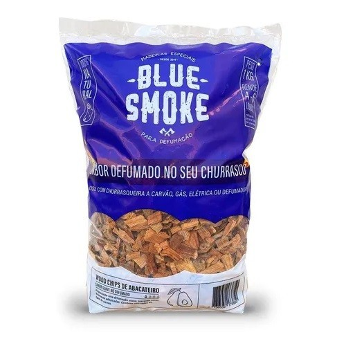 Kit 2 Lascas de Lenha Para Defumação Blue Smoke Abacateiro + Smoker em Inox 304  - Sua Casa Gourmet e Cia