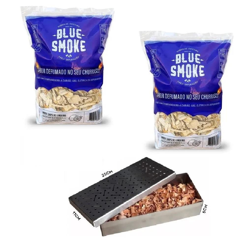 Kit 2 Lascas de Lenha Para Defumação Blue Smoke Limoeiro + Smoker em Inox 304