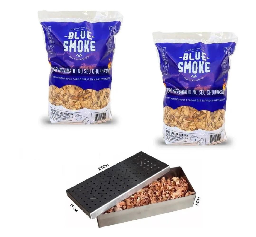 Kit 2 Lascas de Lenha Para Defumação Blue Smoke Macieira + Smoker em Inox 304