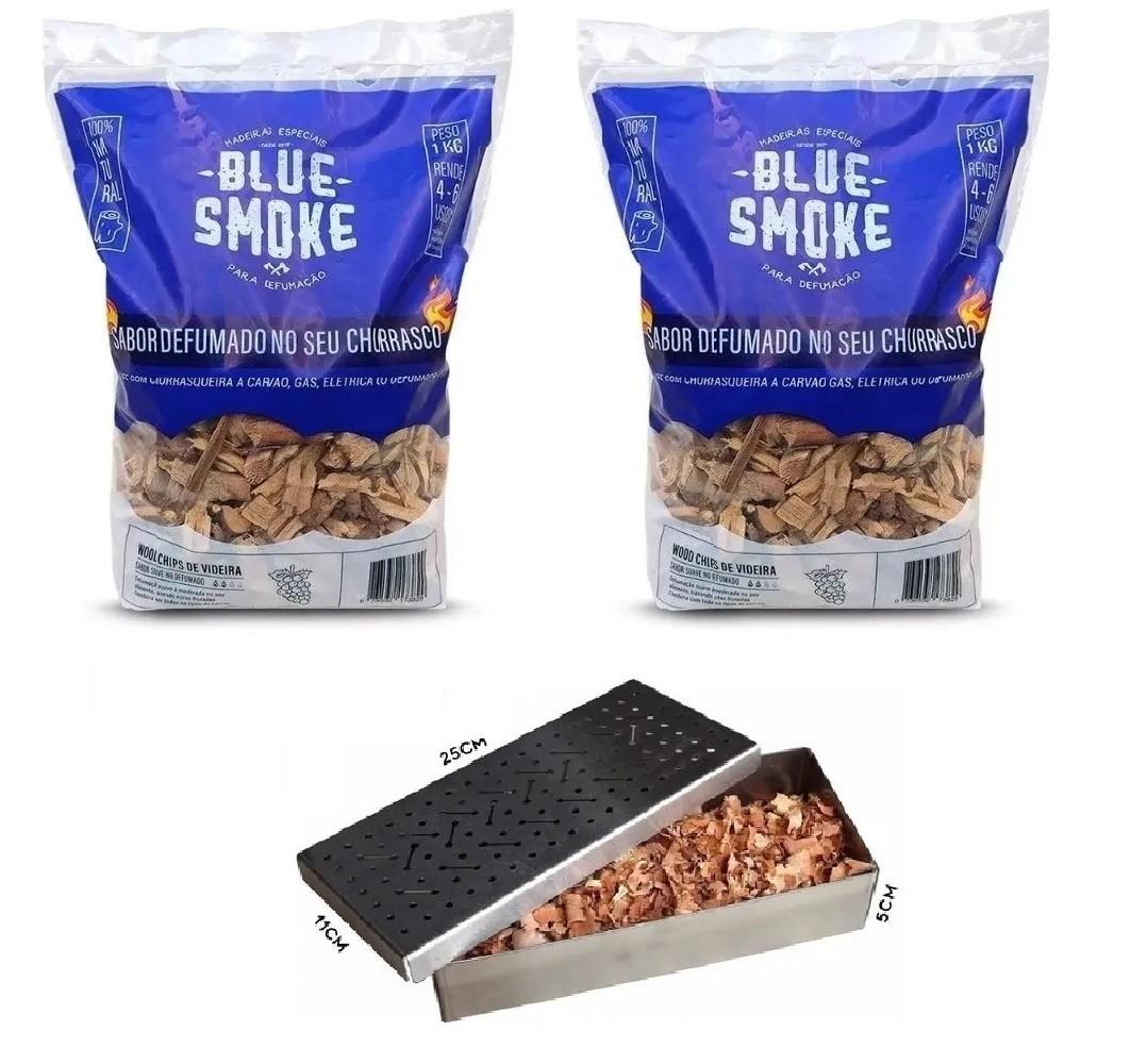 Kit 2 Lascas de Lenha Para Defumação Blue Smoke Videira + Smoker em Inox 304