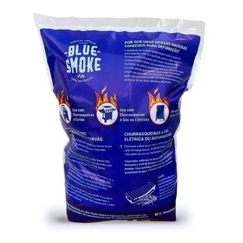 Kit 2 Lascas de Lenha Para Defumação Blue Smoke Videira + Smoker em Inox 304  - Sua Casa Gourmet e Cia