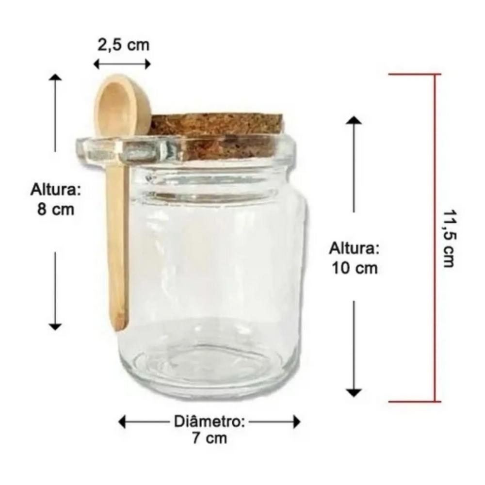 Kit 8 Mini Frascos Vidro com Rolha e Colher ArtLille  - Sua Casa Gourmet e Cia
