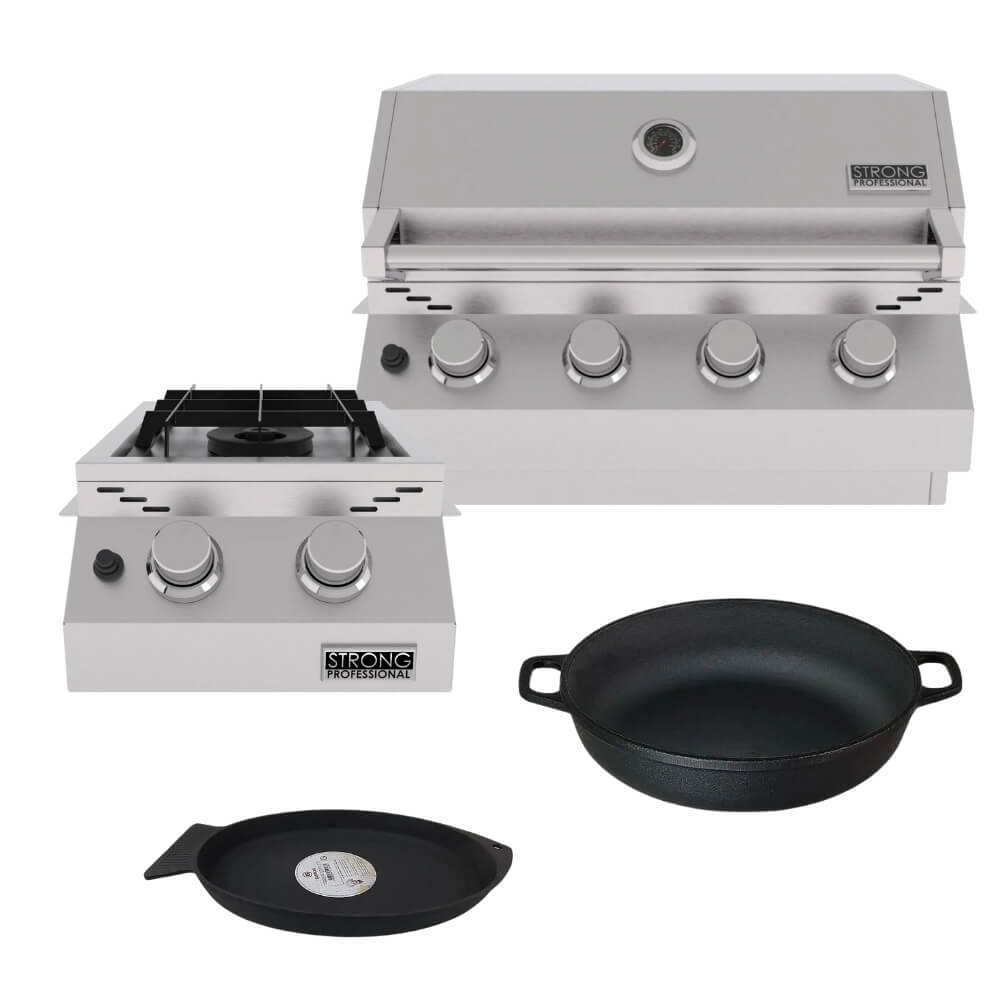 Kit Área Gourmet Churrasqueira de Embutir 4 Queimadores K9