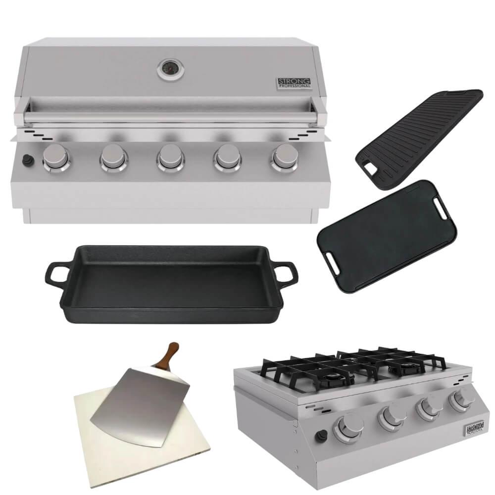 Kit Área Gourmet Churrasqueira de Embutir 5 Queimadores K11  - Sua Casa Gourmet e Cia