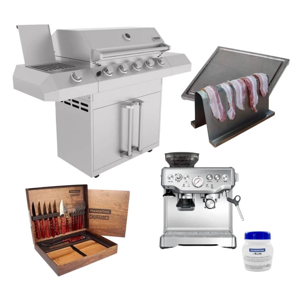 Kit Área Gourmet Churrasqueira Gabinete 6 Queimadores K16