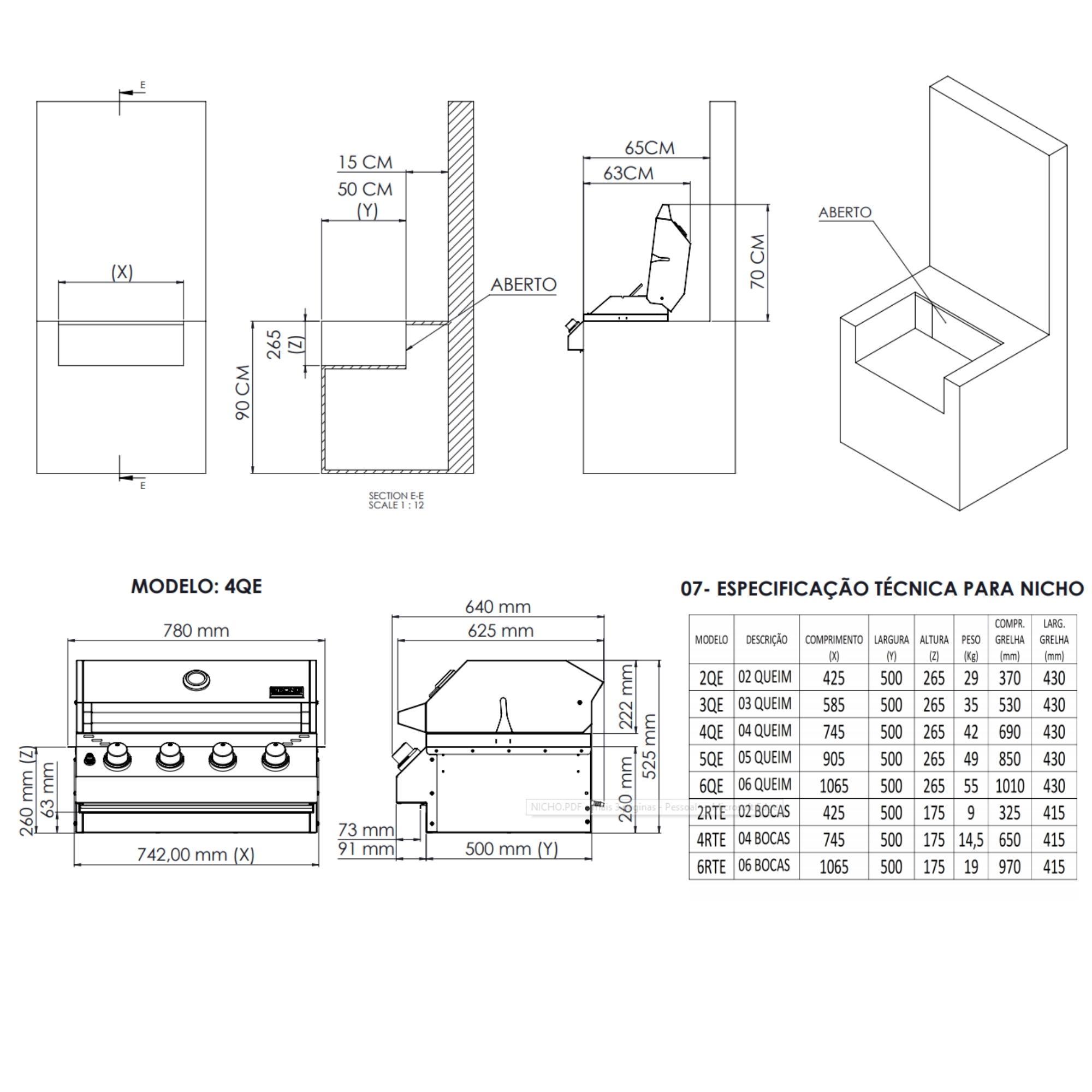 Kit Área Gourmet Churrasqueira de Embutir 4 Queimadores K2  - Sua Casa Gourmet e Cia