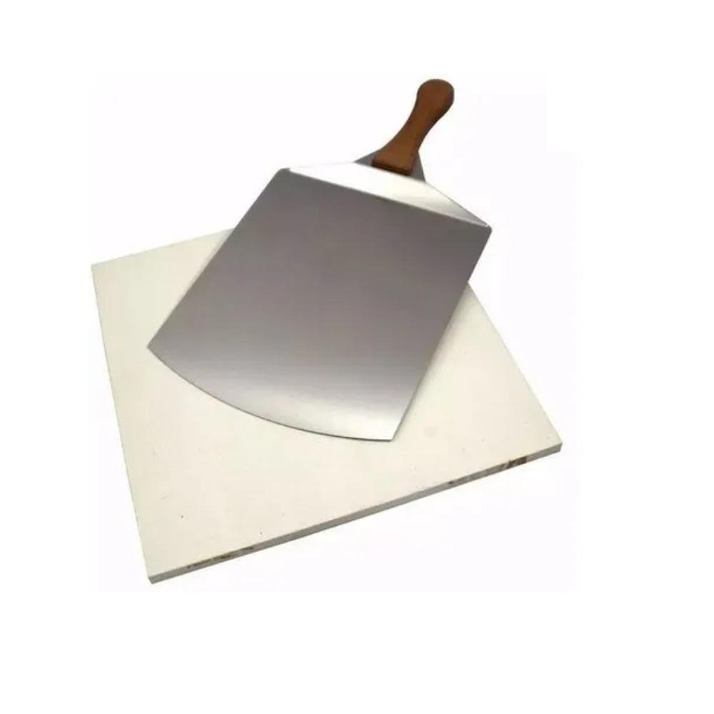 Kit Pá Inox e Pedra de Pizza Cerâmica 40 X 40