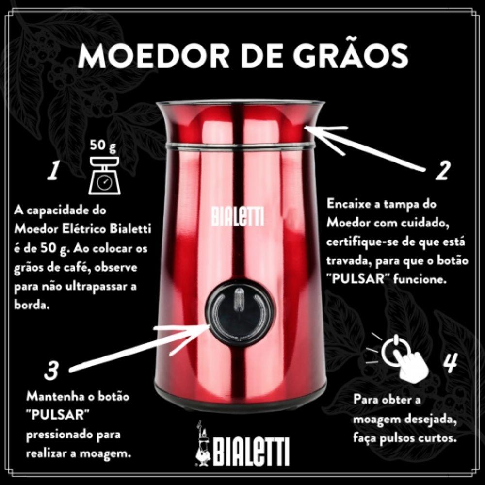 Cafeteira Bialetti 6 xicaras + Moedor de Café + Tuttocrema  - Sua Casa Gourmet e Cia
