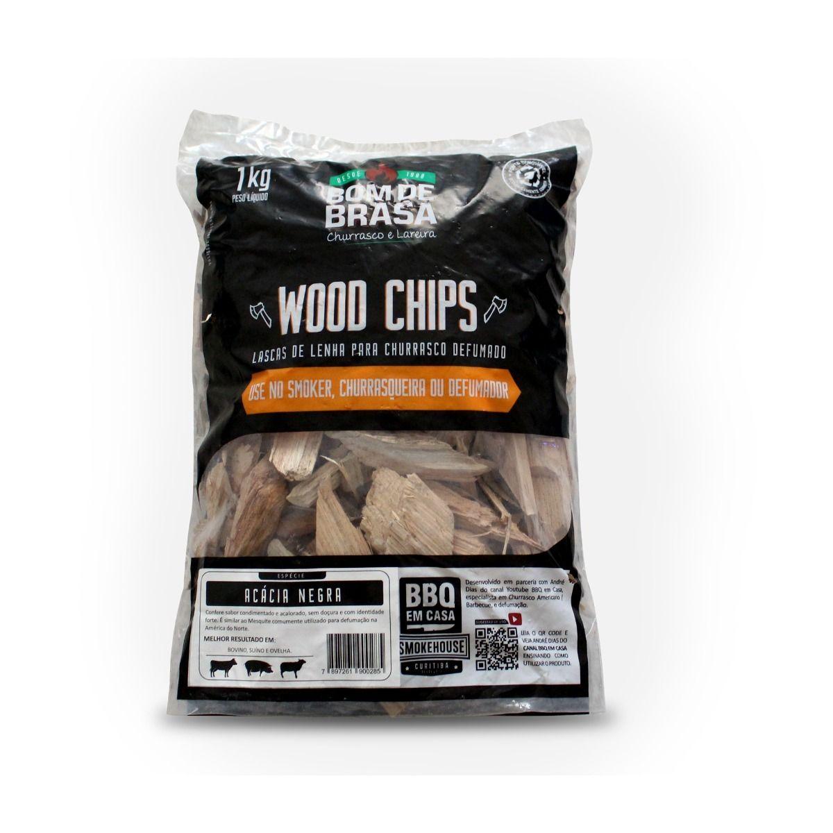 Lascas de Lenha de Madeira Para Defumação Woods Chips Acácia Negra - 1 KG