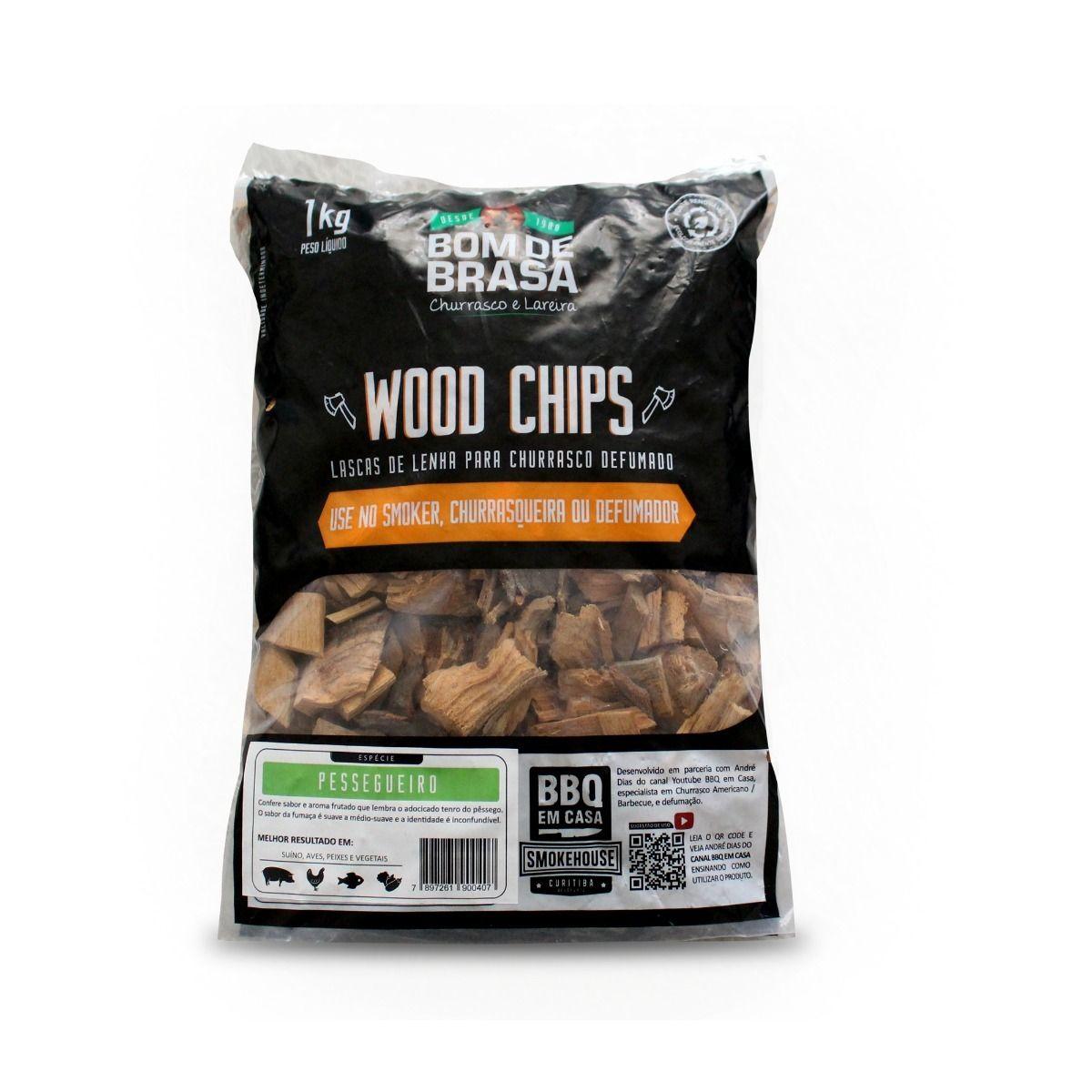 Lascas de Lenha de Madeira Para Defumação Woods Chips Pessegueiro - 1 KG