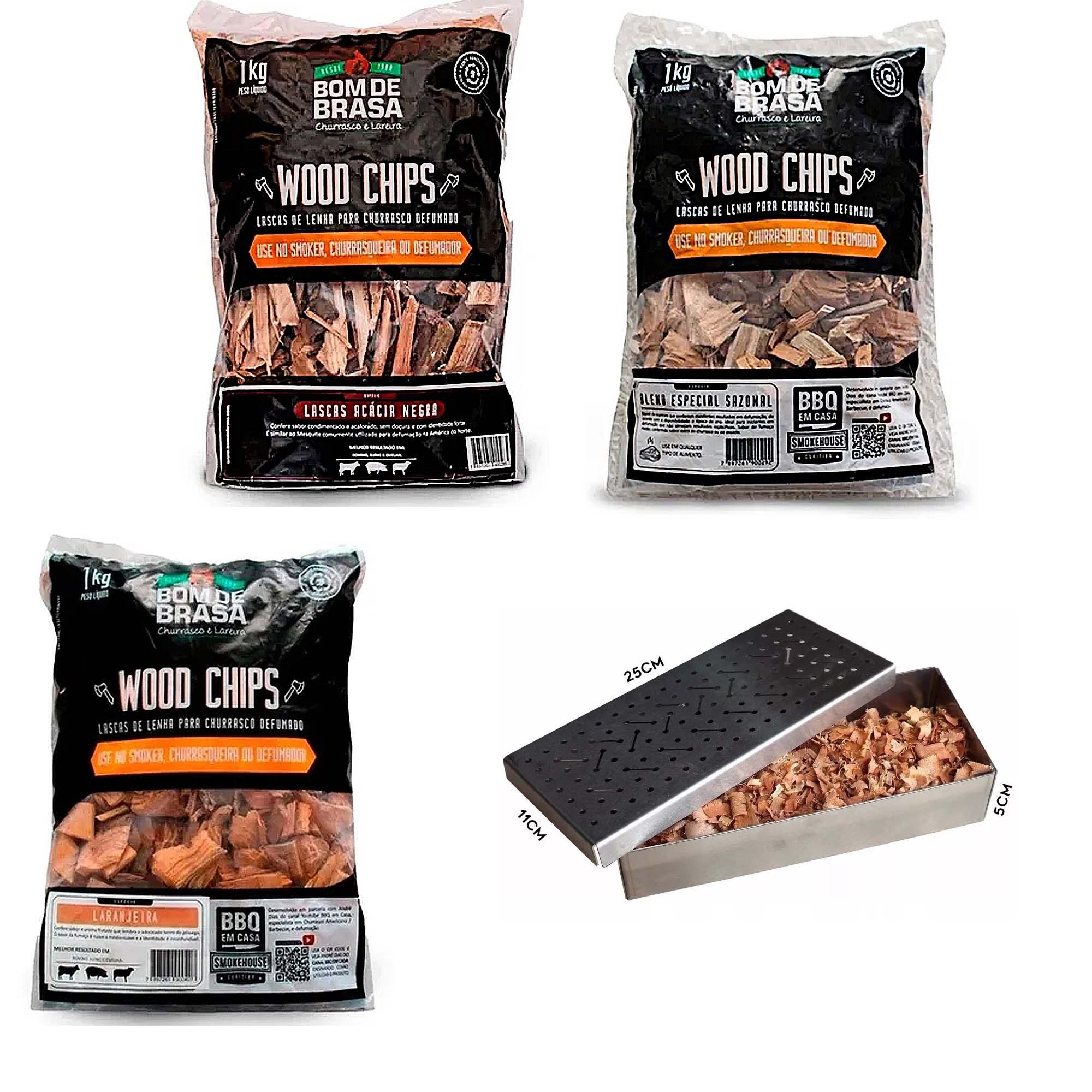 Lascas De Lenha Para Defumação Wood Chips 1kg + Smoker em Inox