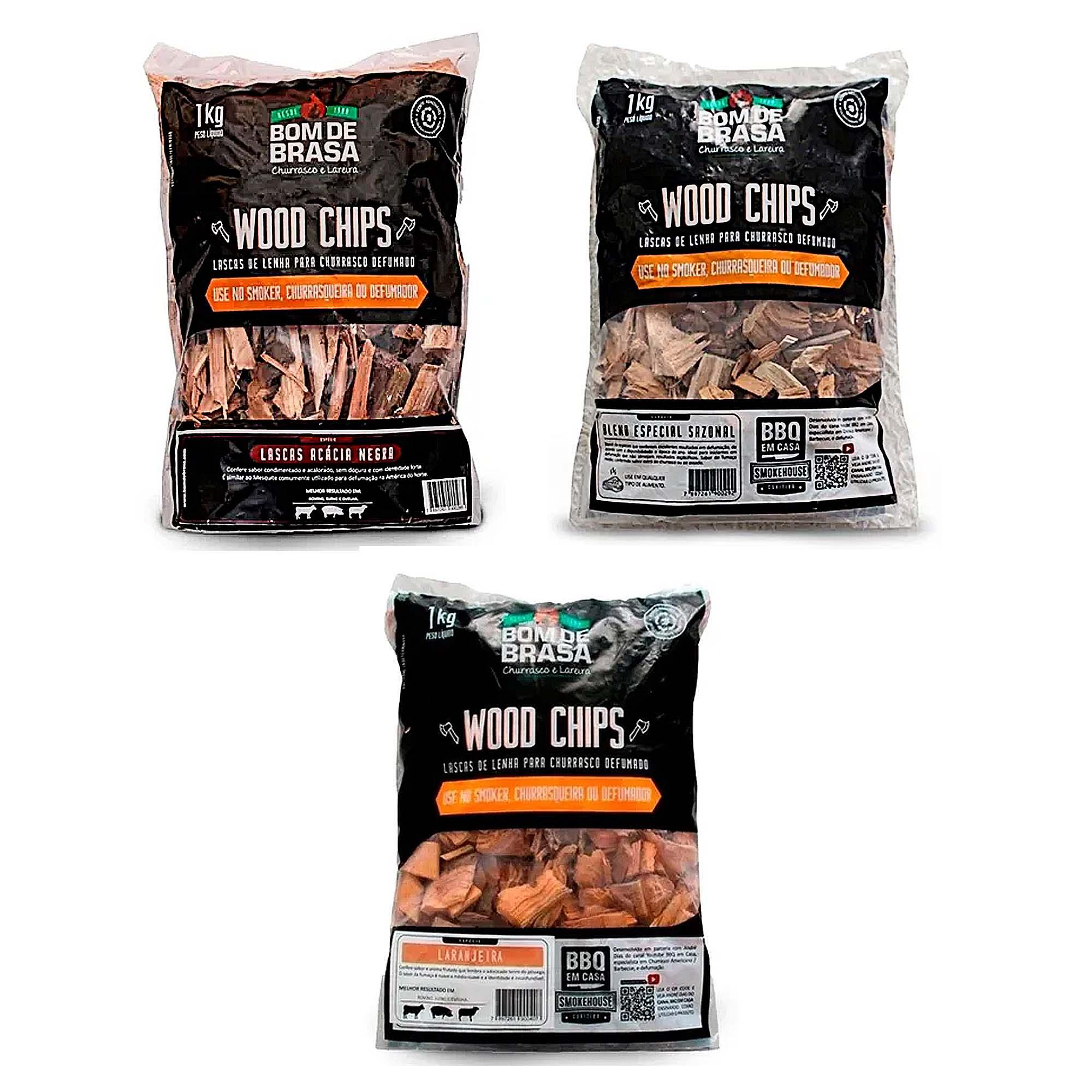Lascas de Lenha Para Defumação Woods Chips 1kg - Vários Sabores