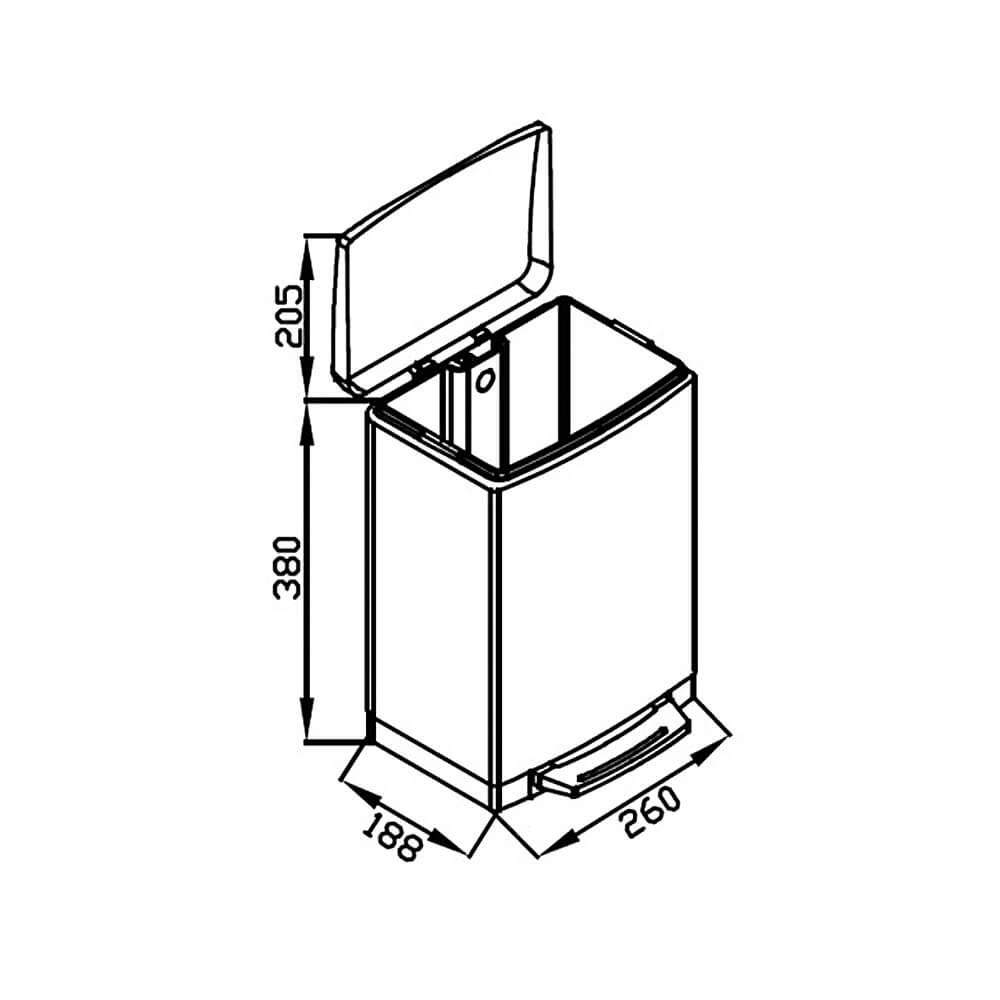 Lixeira GhelPlus Retangular Slim Matte Pedal e Balde Plástico 12L  - Sua Casa Gourmet e Cia