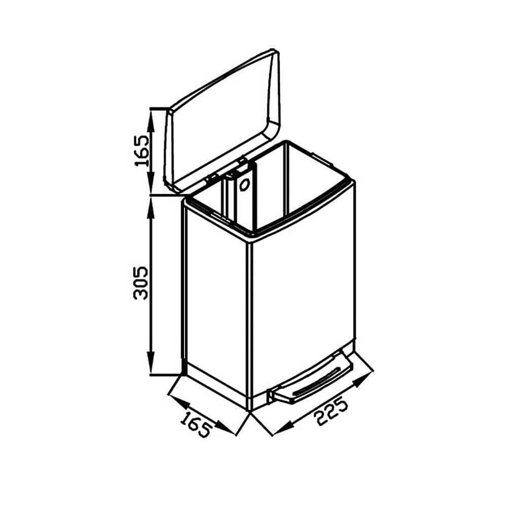 Lixeira GhelPlus Retangular Slim Matte Pedal e Balde Plástico 6L  - Sua Casa Gourmet e Cia