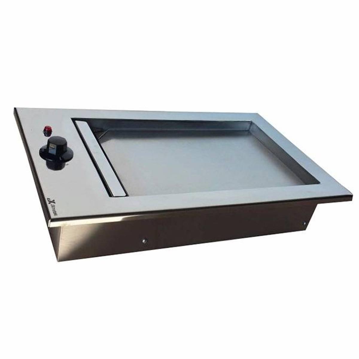 Chapa de Lanche Elétrica Gourmet Em Inox de Embutir JX Metais - 32x50   - Sua Casa Gourmet e Cia