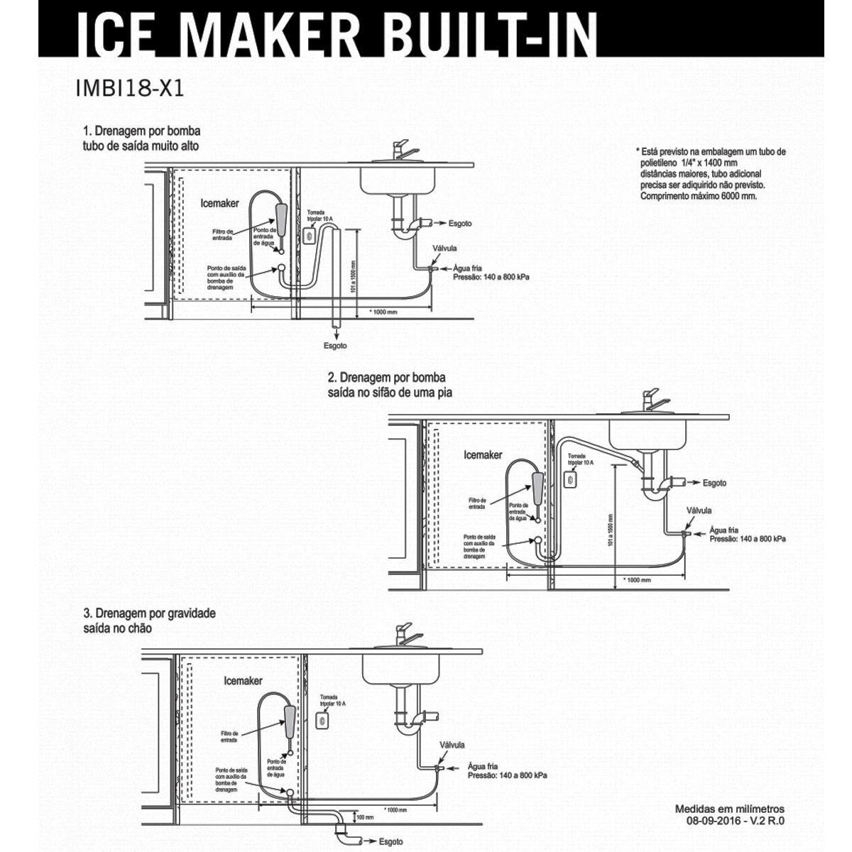 Máquina de Gelo Elettromec Inox  - Built In - 110V