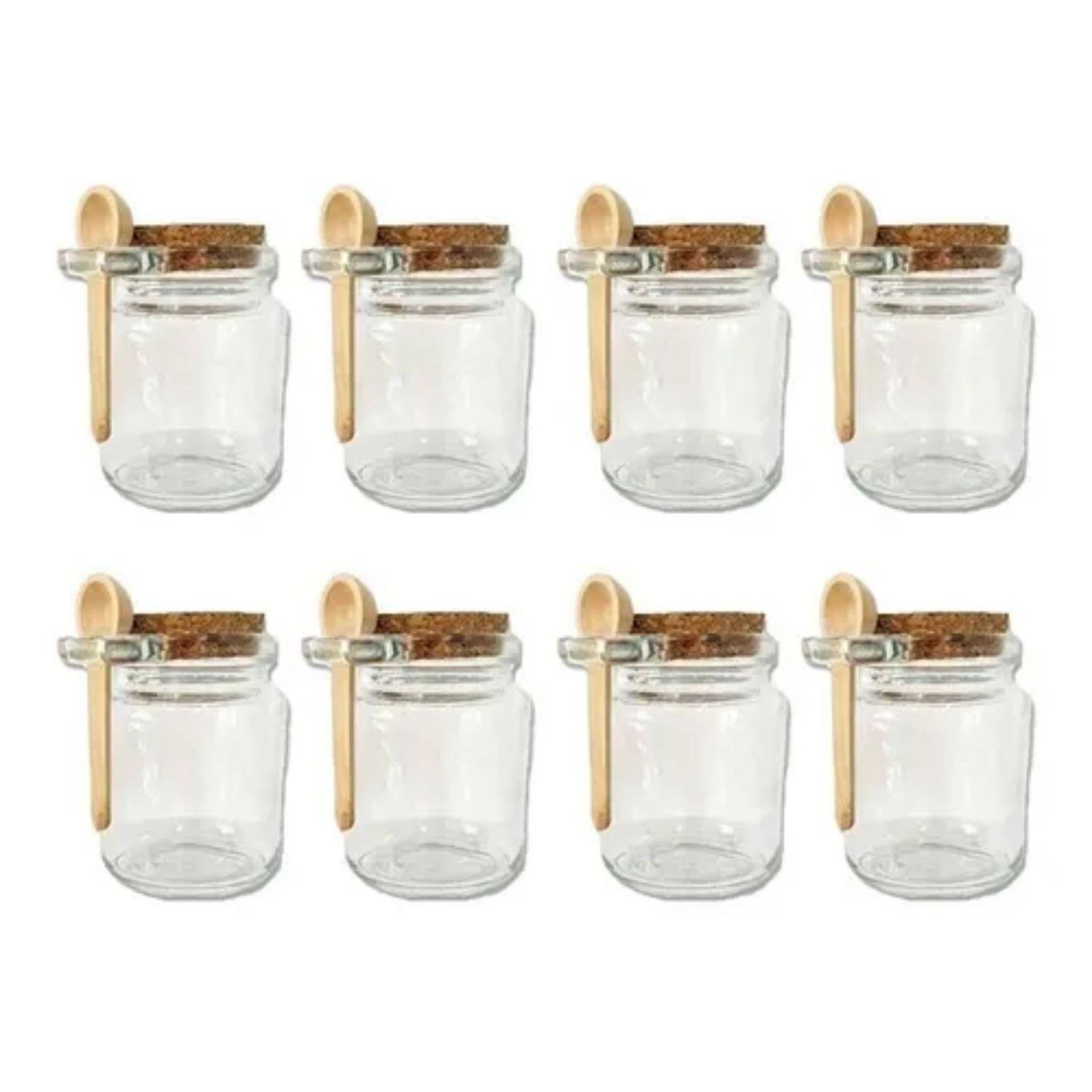 Mini Potes de Vidro para Temperos Hermético Com Tampa e Colher