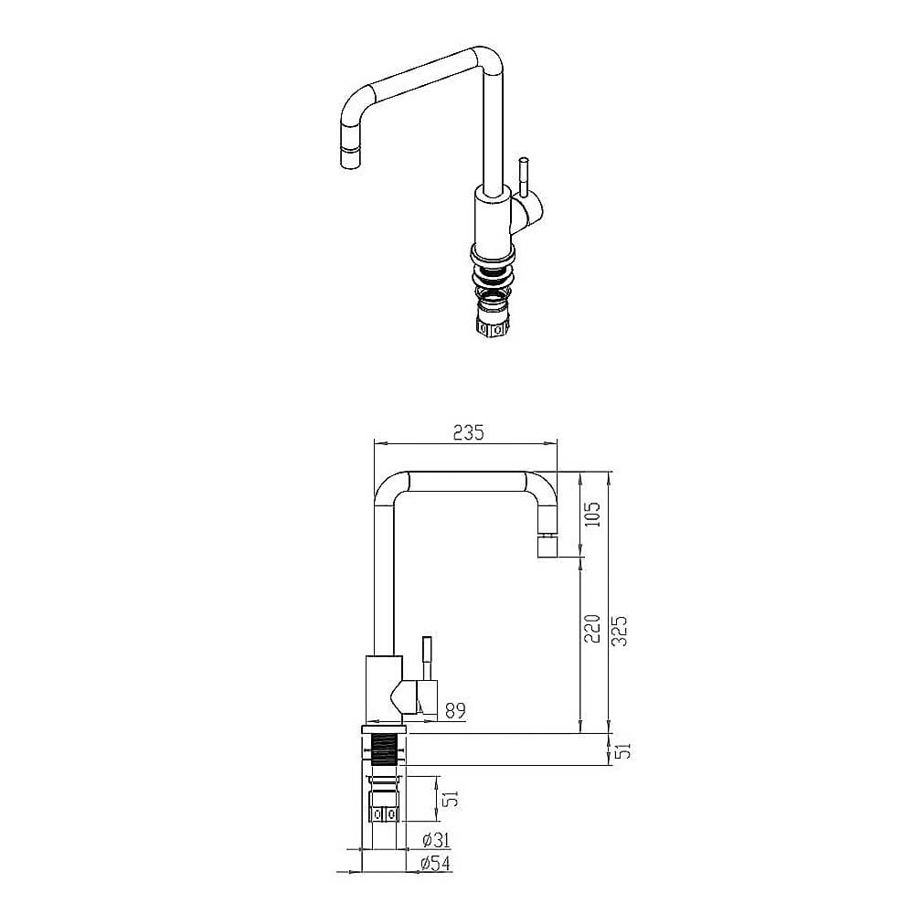 Misturador Monocomando 181 Debacco Inox  - Sua Casa Gourmet e Cia